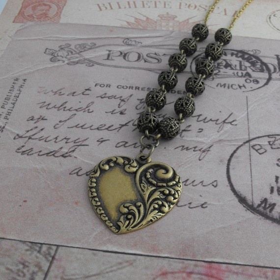 Filigree & Heart Necklace Antique Brass Bead Vintage Style Jewellery £10.00