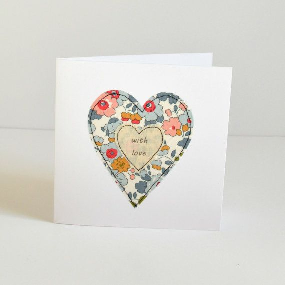 Embroidered heart greetings card Anniversary card Wedding