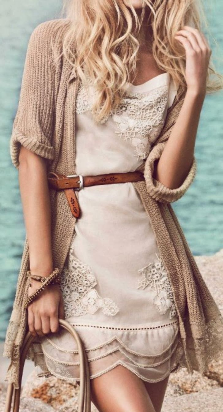 Cute lace dress with Belted | style apparel women clothing outfit fashion dress lace belt brown sweater knitted handbag summer