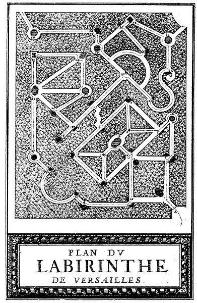 """""""Plan du Labirinte de Versailles"""", printed at the Royal Press, Paris and illustrated by Sebastien le Clerc"""