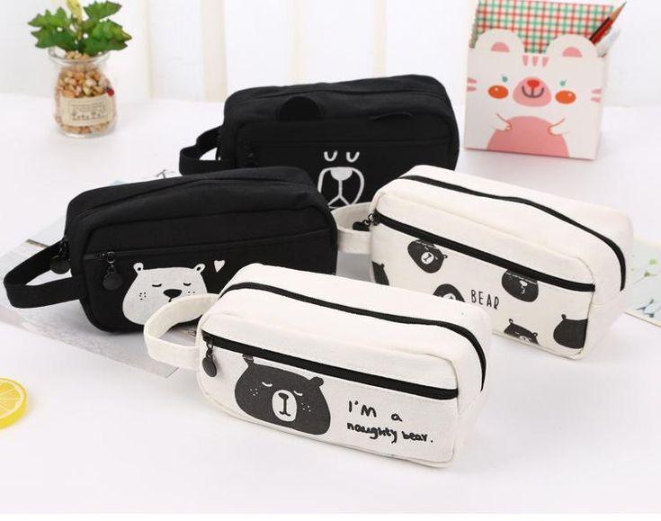 Black & White Funny Bears High School Japanese Pencil Case  #Black #White #Funny #Bears #HighSchool #Japanese #PencilCase