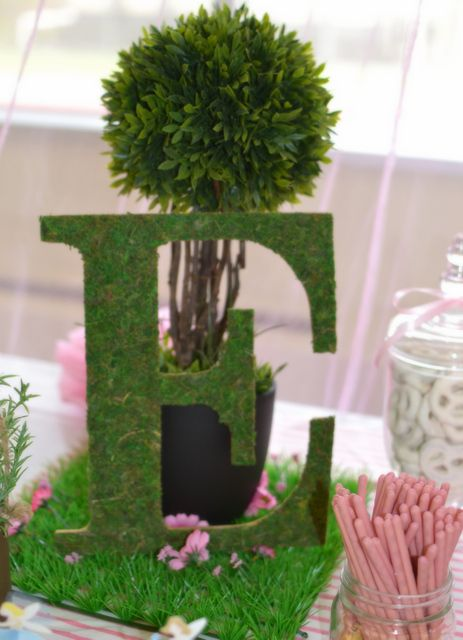 Grass covered letter at a fairy tea party #fairy #teaparty