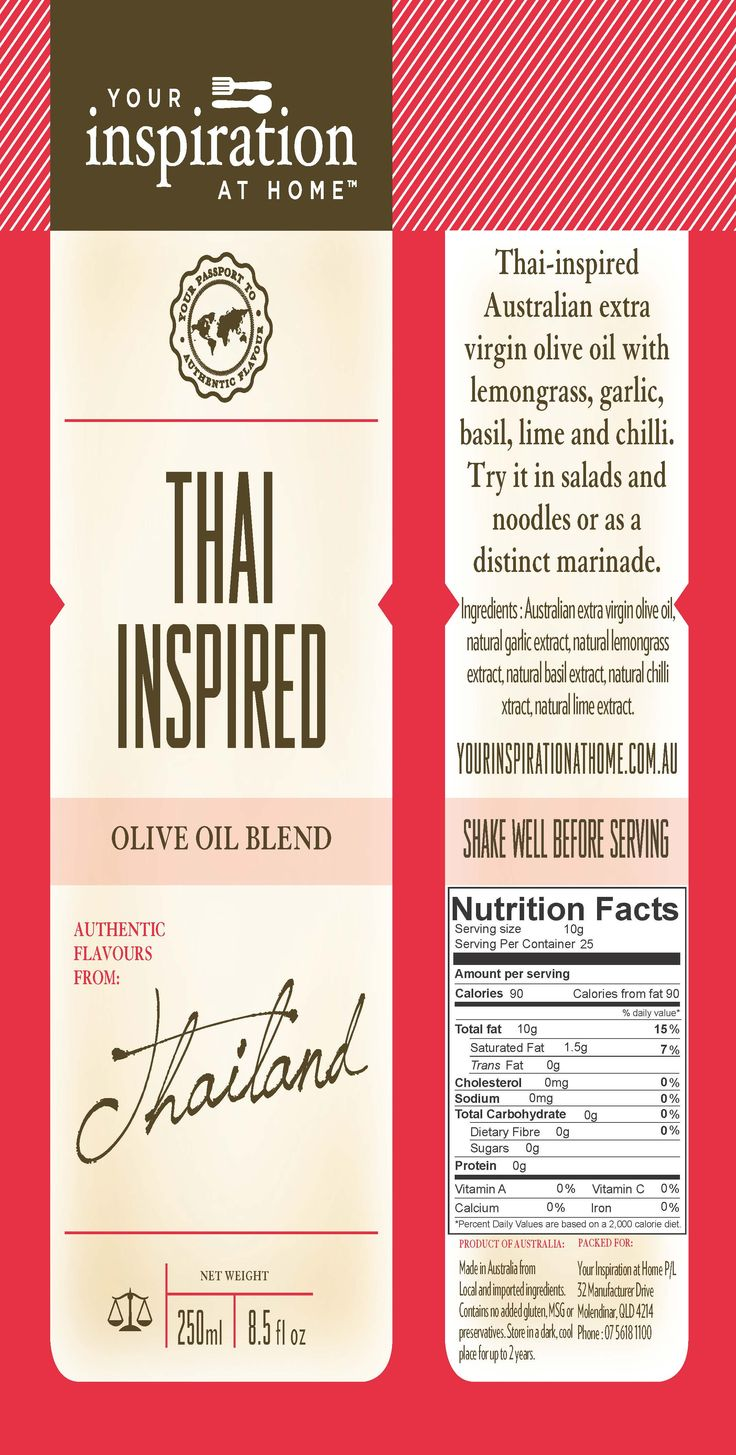 Thai Inspired Oil  Thai inspired Australian Extra Virgin Olive Oil with the fresh flavours of Lemongrass, garlic, basil, lime and chilli. So simple, just toss in salad and Asian noodles. chicken, beef, fish and prawns.