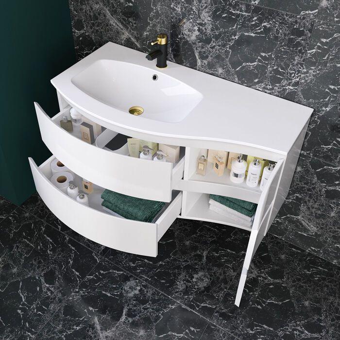Large Wall Hung Curved Vanity Unit Bathroom Sink Storage Soak