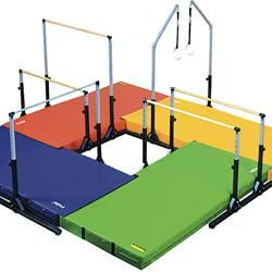 AAI® Elite Kids Gymnastics 4 - Station Circuit I'm picturing a chalk bucket in that middle open square :-)