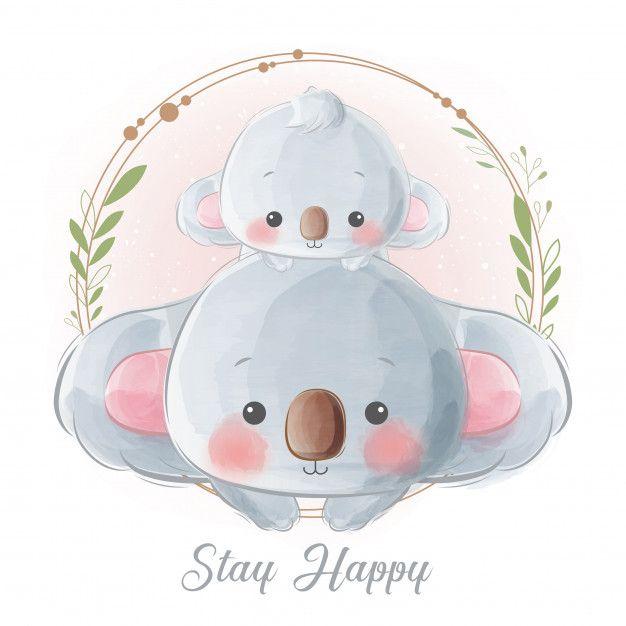 Cute Mommy And Baby Koala In Wreath Com Imagens Desenhos