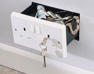 Secret compartment wall safe disguised as electrical wall outlet