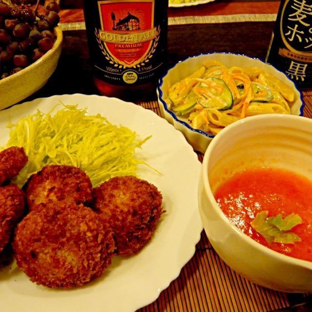 今日は主人が献立をたててくれました✨作るのは私だけど - 41件のもぐもぐ - メンチカツ、ペンネサラダ、トマトの冷製スープ by masako522