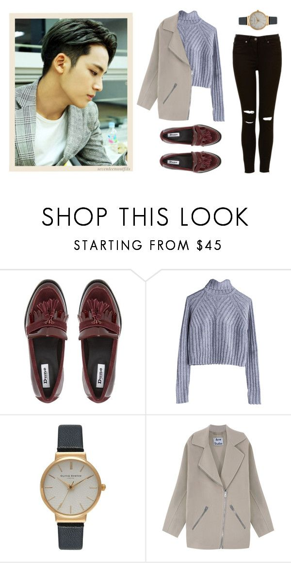 """""""fall date with mingyu"""" by loubean98 ❤ liked on Polyvore featuring MTWTFSS Weekday, Olivia Burton, Acne Studios, 17, kpop, seventeen, mingyu and pledis"""