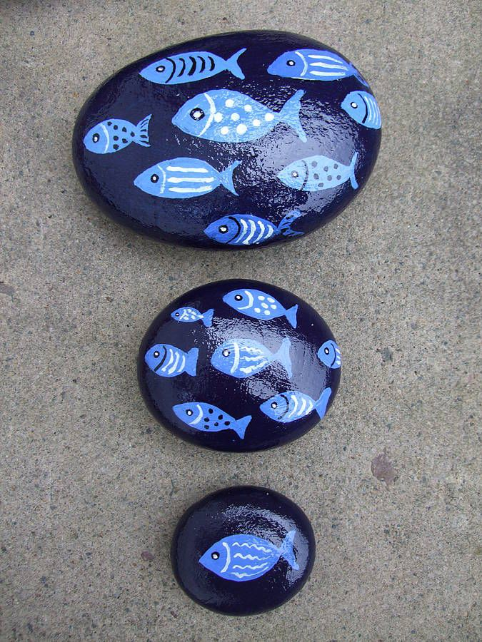 hand painted fish pebbles