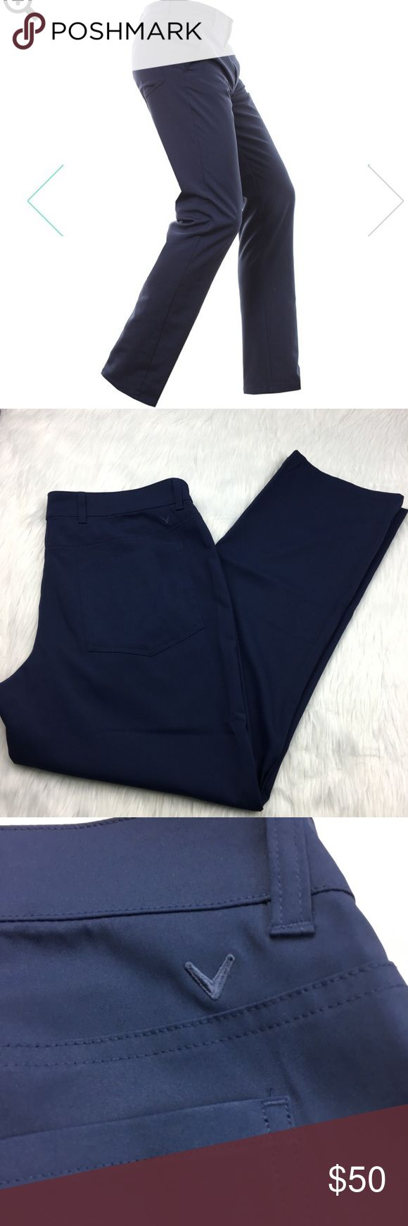 """NEW Callaway Navy Blue Golf Trousers NEW callaway navy blue 5 pocket golf trouser. features belt loops, a front zip and button fly, and chevron logo located to the right of the twin back pockets. straight leg  size: men's 36x30  measurements: waist 18.5"""" across / rise 11"""" / thigh 13.5"""" across / inseam 30""""  fabric content: 95% polyester, 5% spandex  washing instructions: machine wash  flaws: never washed or worn  weight: 11 ounces Callaway Pants"""