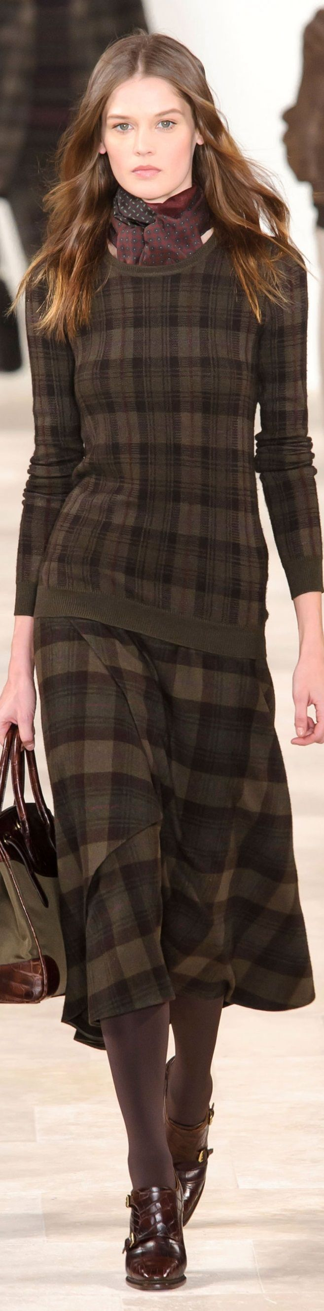 Brown Plaid Skirt. No to the plaid sweater. Yes to a Mulberry colored blouse.