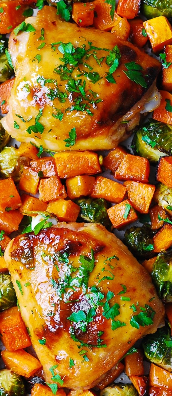 One-Pan Maple-Dijon Chicken with Roasted Butternut Squash and Brussels Sprouts - a perfect Autumn/Winter dinner!