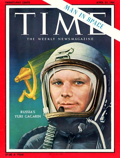 1961-04 Yuri Gagarin USSR Copyright Time Magazine - Mad Men Art: The 1891-1970 Vintage Advertisement Art Collection