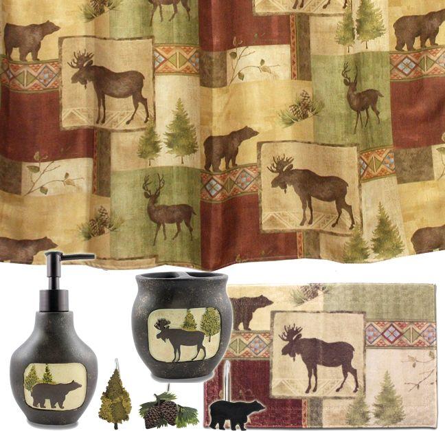 Mountain Moose And Bear 5 Piece Bath Set Cabin Decor Shower Curtain Rug