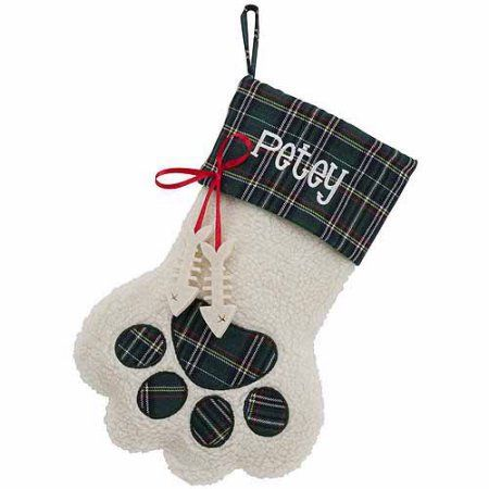 Personalized Dog Paw and Cat Paw Christmas Stockings, Green
