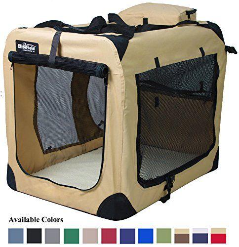 EliteField 3-Door Folding Soft Dog Crate, Indoor