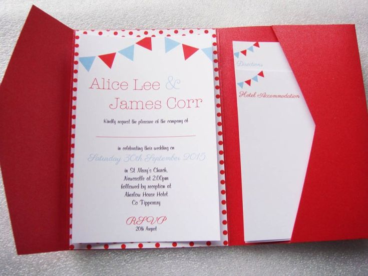 Scarlet red pocketfold envelope matched with white and dotty backing card and topped with a crisp white insert. Ideal for a fresh spring/summer wedding!  www.justaddyou.ie