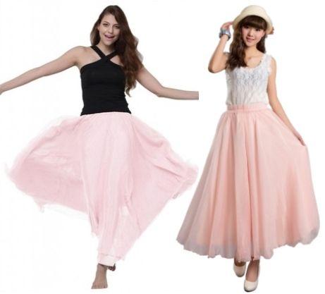 long baby pink chiffon skirts