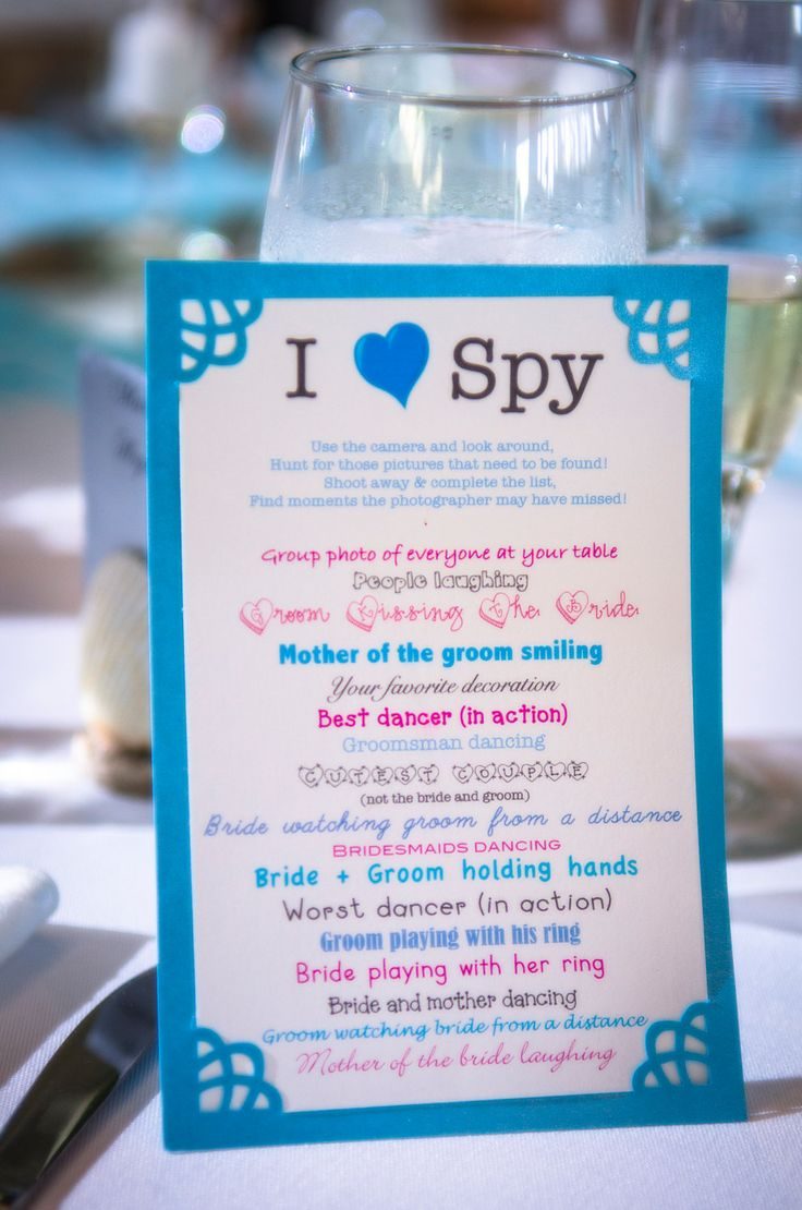 I Spy Wedding Game - Such a fun idea that could be easily adapted for other group events like a family reunion