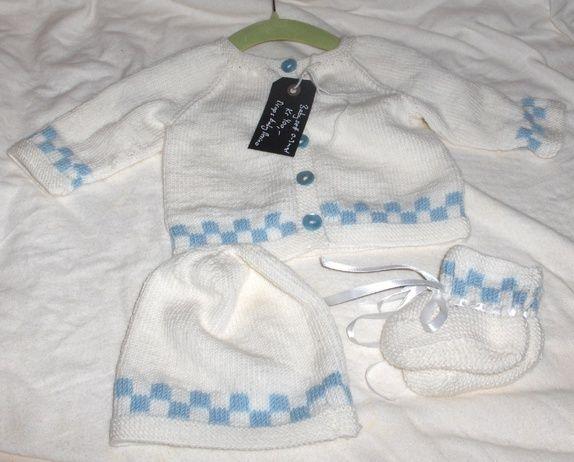 Nytt strikket babysett - hentesett 0/3 mnd