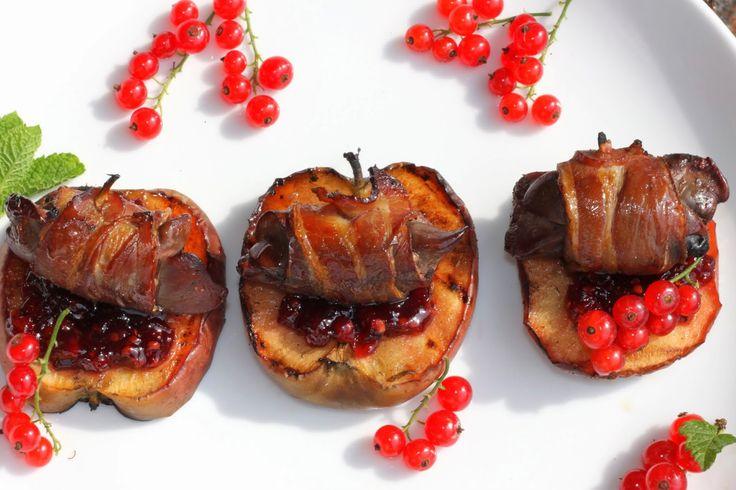 Smakowity Blog Kulinarny: Wątróbka w plastrach boczku z grilla z grillowanym...