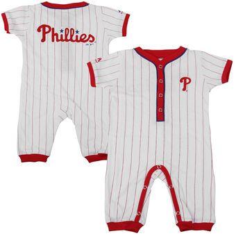 Majestic Philadelphia Phillies Newborn Outfield Pinstriped Coverall - White