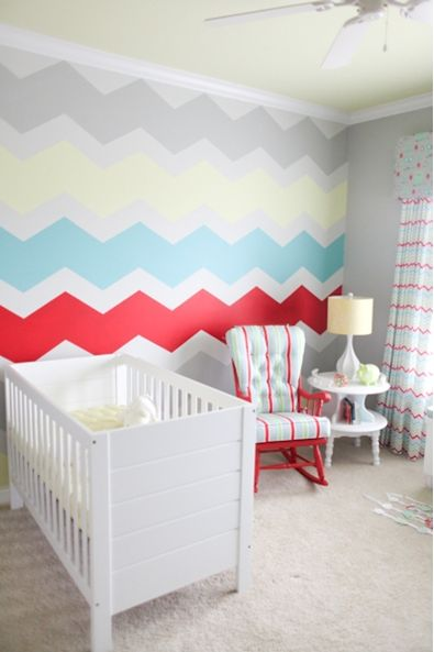 wall paper for home chevron pattern | 15 Gorgeous Hand Painted Walls