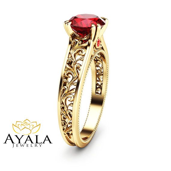 14K Yellow Gold Ruby Engagement Ring Natural Ruby by AyalaDiamonds
