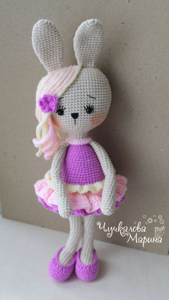 Toy crochet pattern Bunny in lush skirt PDF by Kumutushkatoys
