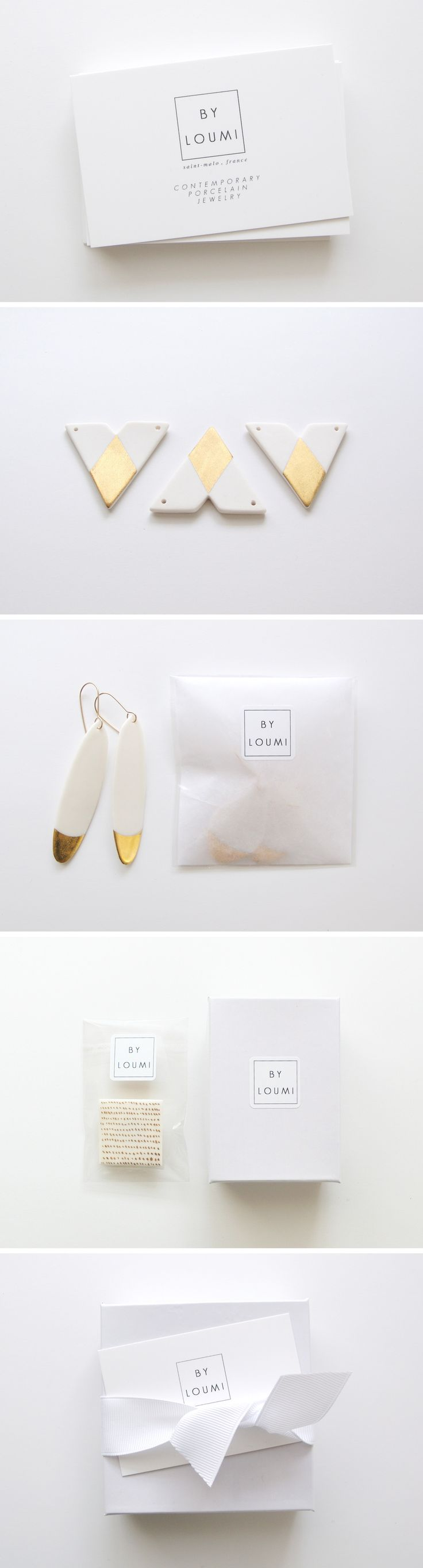 Packaging from By Loumi jewelry. porcelain jewelry, with gold accents    < taste > girly  simple / / elegant < media material > package  typography / logo etc…  < layout > layoutで分類した後にさらに分類   分類した後にさらに分類   < shape > geometric  < decoration > 分類した後にさらに分類