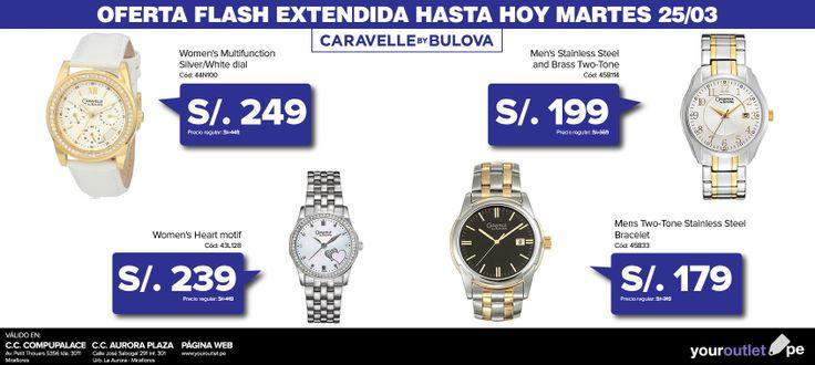 ¡Extendemos la oferta flash de relojes Caravelle by Bulova hasta hoy! Aprovecha los mejores precios en nuestras tiendas y página web.