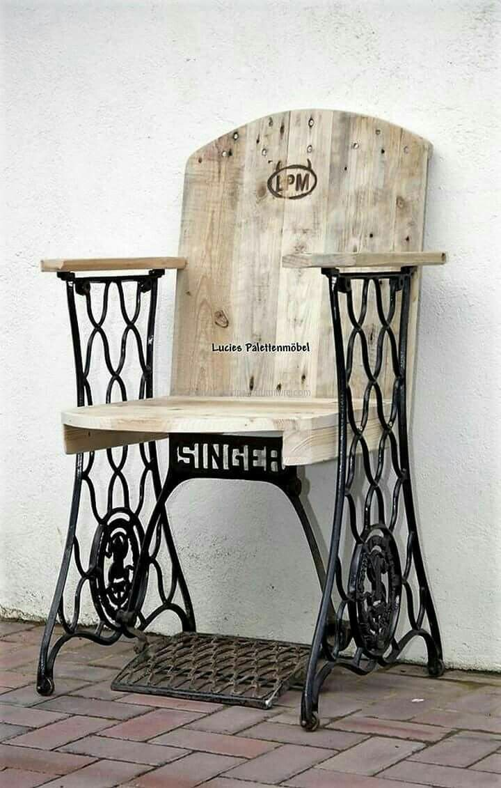 Inspiration :: A unique use for an antique Singer sewing machine metal frame #DIY #chair
