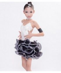 Black and white backless girls kids children patchwork competition high quality hand made performance latin ballroom dance dresses