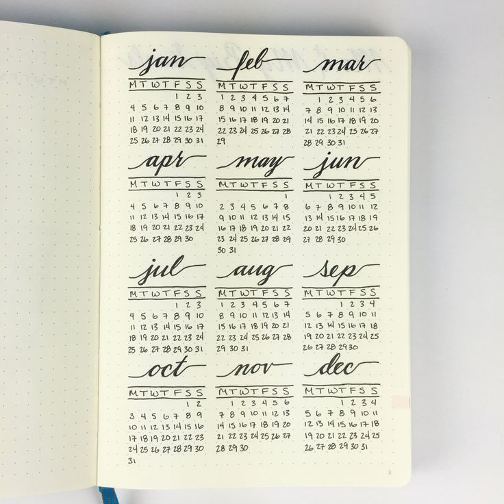 Bullet Journal - Full Year Calendar- put color coded circles around dates and on the other page write what they are