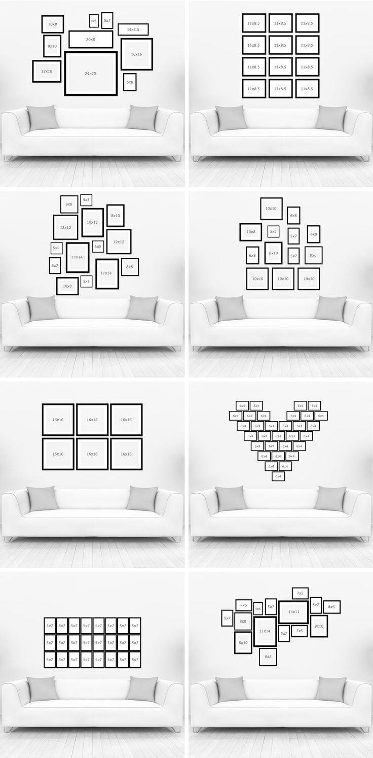 Jueves de inspiración!  Os mostramos algunas ideas para decorar tu salón con enmarcaciones...diferentes medidas y colocaciones para darle ese toque... Ú.N.IC.O. ❤