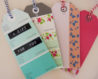 Inspiration: paint chips + Dymo/Motex or washi tape gift tags from Dimes and Quarters.