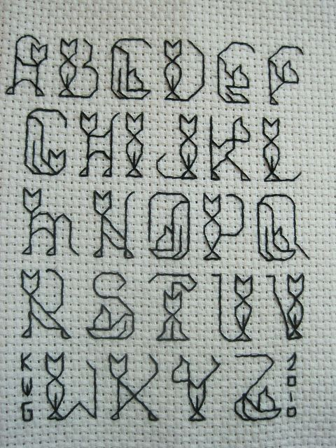 cat alphabet cross stitch - just realized how much of a loser i really am thinking this is the cat's meow (pun intended)