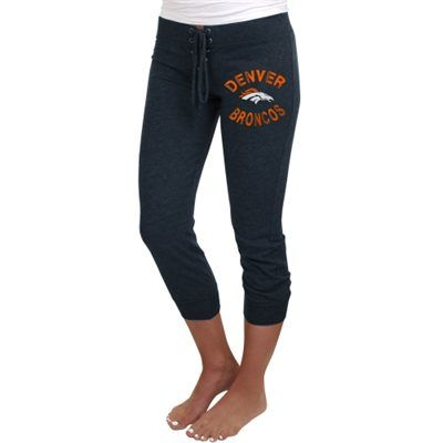 Denver Broncos Ladies Fourth Down Tri-Blend Capri Pants - Navy Blue
