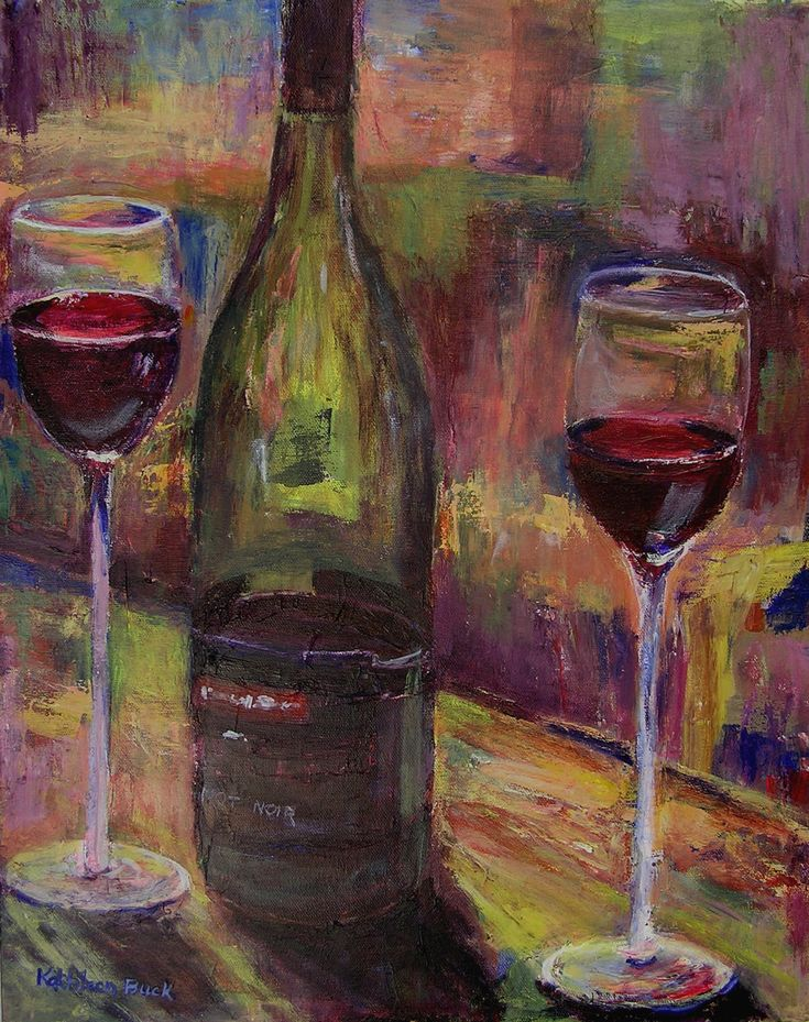 Image detail for -Pinot Noir wine bottle and glasses Limited Edition Giclee Print
