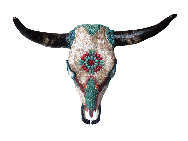Nice Native American Wall Decor #1: Native American Turquoise Cow Skull