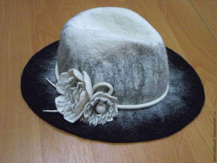 """Купить Шляпа """"Черно-белая"""" - чёрно-белый, валяная шляпа, шляпа федора, Шляпа валяная"""