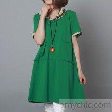 Green cotton sundress plus size shift dress causal maternity dress