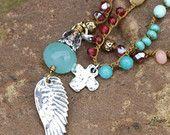 """Verkauf - bunte Boho Flügel Halsband - Flügel und ein Gebet, wrap """"Illusion"""" doppelte Perlen chic, Semi kostbaren Schmuck"""