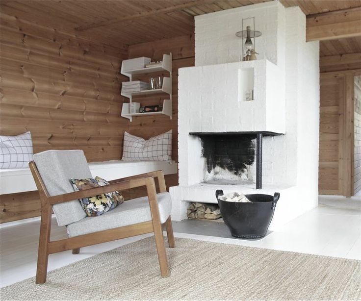 wood cabin interior // time of the aquarius #white_floors #fireplace