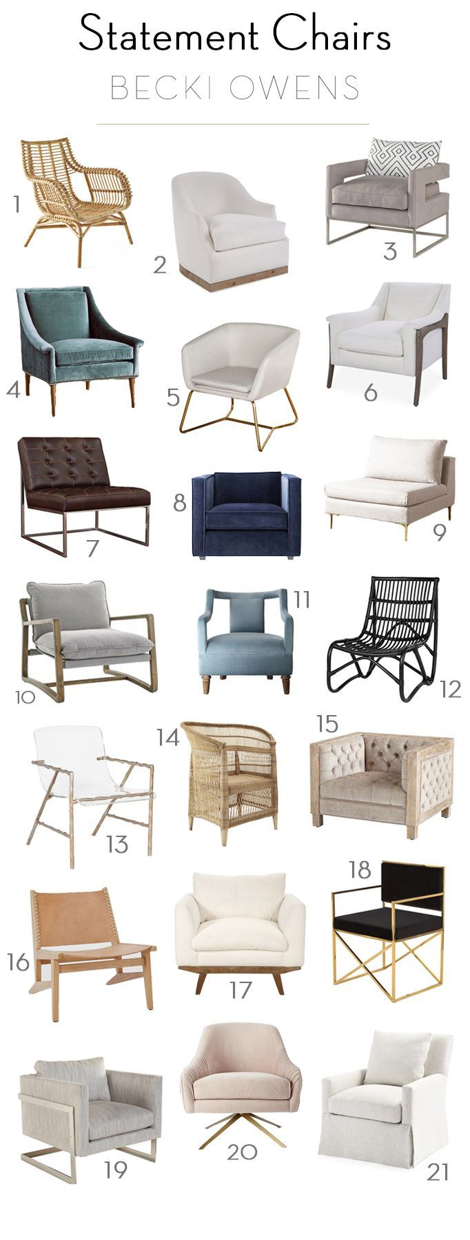 Today, I'm sharing a few seating arrangements in living rooms I've designed and a round up of 21 amazing chairs that make a statement.