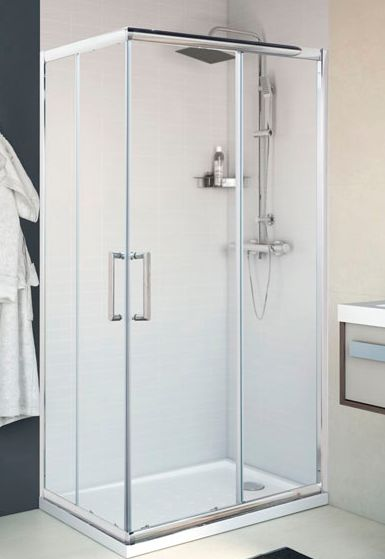 Mampara rectangular de ducha Quad Cromo, 2 puertas correderas en esquina.