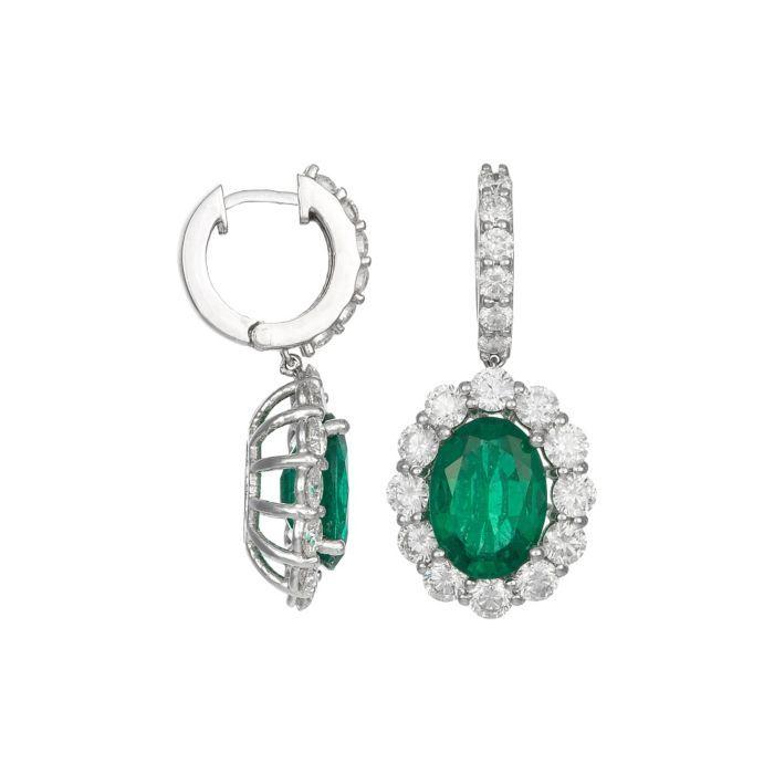 Goldiva 18k White Gold, Diamond & Emerald Earrings featured in vente-privee.com