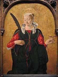 """Easy-to-teach iconography....Saint Lucy - Wikipedia: """"The emblem of eyes on a cup or plate apparently reflects popular devotion to her as protector of sight, because of her name, Lucia (from the Latin word """"lux"""" which means """"light"""").[11][12] In paintings St. Lucy is frequently shown holding her eyes on a golden plate. Lucy was represented in Gothic art holding a dish with two eyes on it. She also holds the palm branch, symbol of victory over evil."""""""