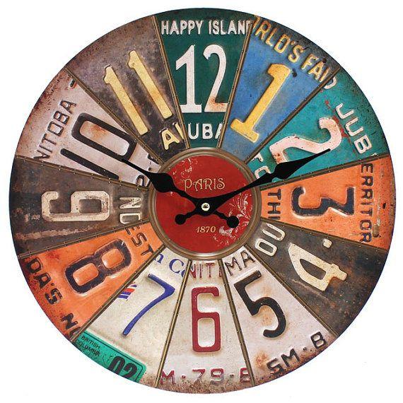 DIY: Repurposed License Plates Clock Idea (no tutorial)